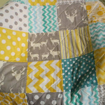 Baby quilt,teal,grey,yellow,Baby boy bedding,baby girl quilt,Deer Crib quilt,chevron,rustic baby,woodland,toddler,stag,Deer,Sea and Sun