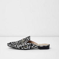 Silver leopard print backless loafers - shoes - shoes / boots - women