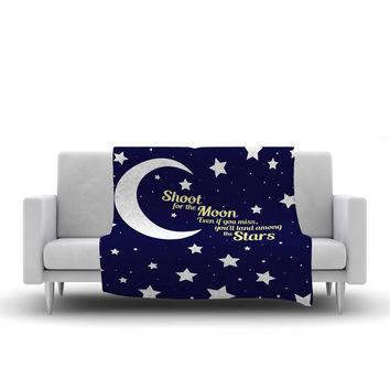 "NL Designs ""Moon And Stars Quote"" Blue White Fleece Throw Blanket"
