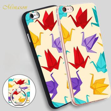 Minason Origami Cranes Mobile Phone Shell Soft TPU Silicone Case Cover for iPhone X 8 5 SE 5S 6 6S 7 Plus