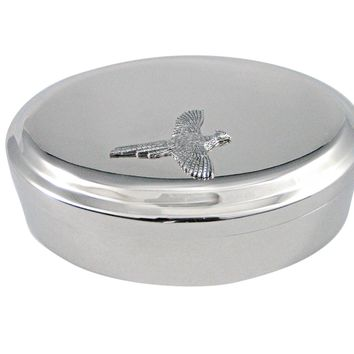 Silver Toned Textured Pheasant Bird Pendant Oval Trinket Jewelry Box