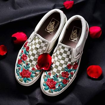 vans slip on dx rose embroidery sneaker
