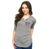 NFL Ladies Halftime Tri-Blend Henley T-Shirt - Ash