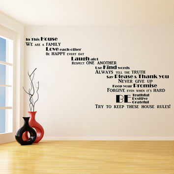 Vinyl Wall Decal Quote In this House We Are Family, Love Each Other / Inspirational Text Art Decor Home Sticker + Free Random Decal Gift!