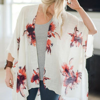 Bloom Floral Kimono In Ivory