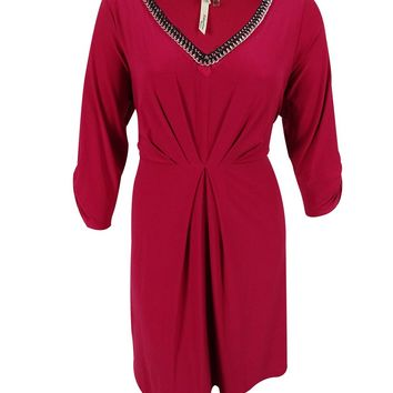 NY Collection Women's Embellished Neck Ruched Sleeves Dress