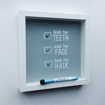 Brush Your Teeth, Wash Your Face, Comb Your Hair Bathroom Checklist Decal