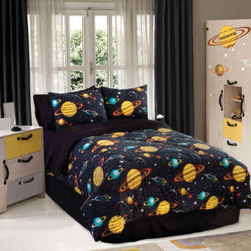 Veratex Hotel Indoor Bedroom Decorative Designer Duvet Accessories Rocket Star Comforter Set Full Black Multi