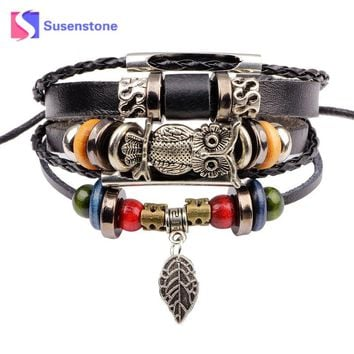 susenstone 2017 Men Jewelry Punk Black Braided Leather Bracelet Stainless Steel Buckle Vintage Fashion Cuff Bangles Wristband