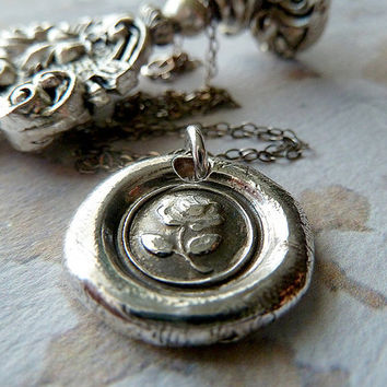 English Tudor Rose Wax Seal Necklace. Wax Seal Jewelry in Recycled Fine Silver. Great Gift for Bridesmaids