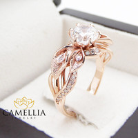 18K Rose Gold Diamond Engagement Ring Calla Lily Unique Engagement Ring Natural 3/4 Carat VS1 Diamond Ring
