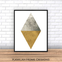 Triangle print, marble print, Gray yellow wall art, scandinavian design, watercolor print, living room art, home decor, geometric art