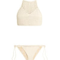 She Made Me - Crocheted cotton halterneck bikini