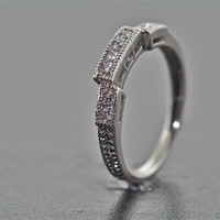 14kt White Gold and Diamond Art Deco Design Hand Engraved Wedding Band