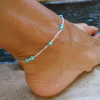 Women Sexy Bohemian Bead Beach Beads Charm Silver Chain Anklet Foot Bracelet Jewelry