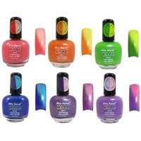 Mia Secret Mood Nail Lacquer Color Changing Nail Polish 6pc Set (6 Different Colors) Full Size Nail Polish