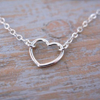 Simple Small Sterling Silver Open Heart Charm Necklace, Valentines Day Gift, Gift for Her,
