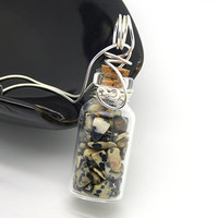 Dalmatian Jasper Necklace, Mini Glass Jar Pendant, Sterling Silver Wire Wrapped Bottle Necklace, Natural Stone Jewelry
