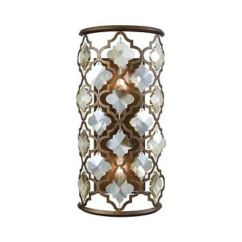 31091/2 Armand 2 Light Wall Sconce In Weathered Bronze With Champagne Plated Crystal