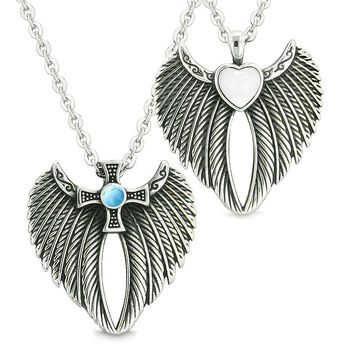 Angel Wings Heart Cross Love Couples Best Friends Simulated Cats Eye Simulated Turquoise Necklaces