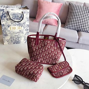 Dior Women Fashion Leather Handbag Tote Crossbody Shoulder Bag Wallet Cosmetic bag A three-piece