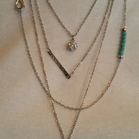 Silver Multi Charm Chain Long Necklace