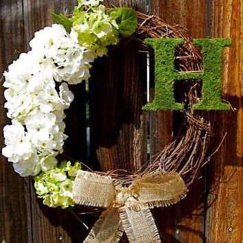 "Personalized 18"" Wreath, Hydrangea Wreath, Front Door Decor, Ribboned Wreath, Year Round Wreath, Etsy Wreath"