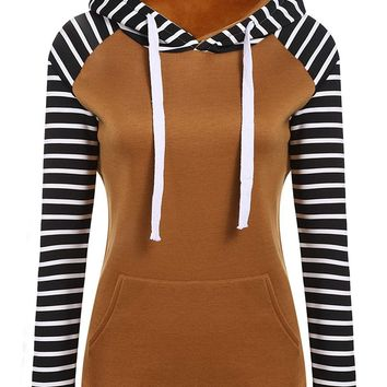 Stripe matching Hooded Long Sleeve Pullover Slim Hoodie