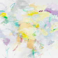 """Original Abstract Painting Intuitive Artwork on Paper """"Lavender Breeze"""""""