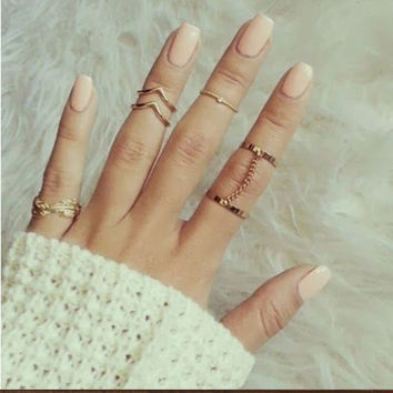 2 Sets Per 6pcs Fashion Unique Style Gold plated Stacking Midi Finger Knuckle Rings Cute Leaf  Ring Set For Women Girls