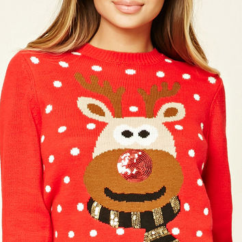 Sequin Reindeer Sweater