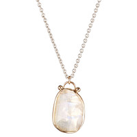Sterling Silver & 10K Moonstone Necklace, Pendant Necklaces