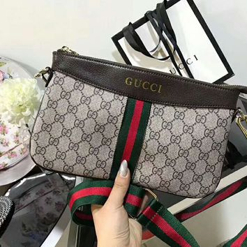 Gucci More Print Stripe Contrast Women Leather Shoulder Bag Satchel B-AGG-CZDL Dark Coffee