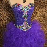 PURPLE PROM PARTY SHORT PAGEANT EVENING COCKTAIL FORMAL BALL GOWN DRESS L 10/12