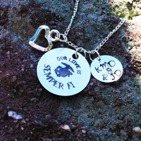 Personalized Marine Wife or Girlfriend - Personalized Marine Necklace - Personalized Military Jewelry