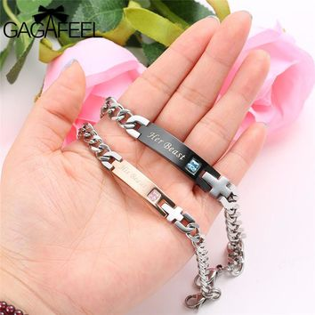 Romantic Couple Bracelet Lovers Men Women Jewelry Stainless Steel Zircon Crystal Her Beast/His Beauty Bracelets Gifts