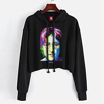 Pop Art John Crop Top Hoodie