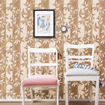 3D Wall Panels Vintage Wall Paper Waterproof PVC Wallpapers Leaves Contact Paper Vinyl Wood Wallpaper Roll for Walls SA-1017