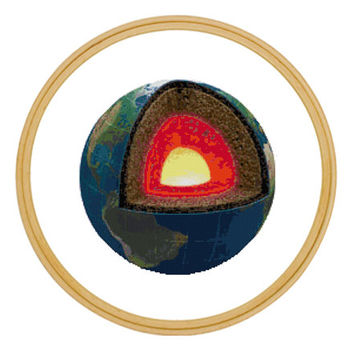 Earth's Core Geology Cross Stitch Pattern