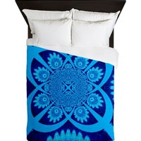 Cobalt and Aqua Mandala Queen Duvet
