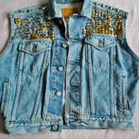 Vintage 90s Punk Studded Cut Off Denim Jacket Vest Shrinky Dink Charms Spikes Studs DIY Grunge Women's Medium