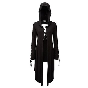 Women Casual Black Gothic Vintage Long Trench Coats Thin Hooded Summer Overcoat Plain Female Fashion Outwear