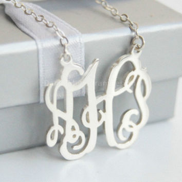 Custom 925 sterling silver monogram necklace,1'' inch personalized vine monogram necklace,necklace with initials,necklace with name