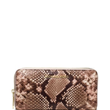 Jet Set Travel Python-Embossed Wallet, Blossom - MICHAEL Michael Kors