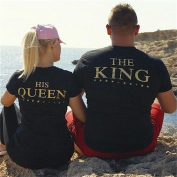 YEMUSEED Plus XXXL Size Lovers The King His Queen Back Printed Tee shirts Harajuku Couple Hipster T shirt Tops WMT309