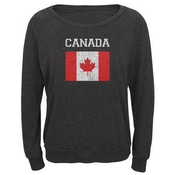 DCCKU3R World Cup Distressed Flag Canada Juniors Long Sleeve Slouch Top