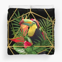 'Bold Golden Geometric Tropical Bouquet With Toucan' Duvet Cover by oursunnycdays