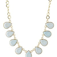 Lt Blue Faceted Stone Teardrop Collar Necklace by Charlotte Russe