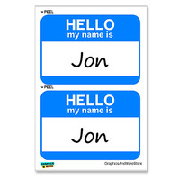 Jon Hello My Name Is - Sheet of 2 Stickers