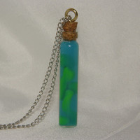 Miniature Glass Bottle Necklace Blue/Green Lava Lamp